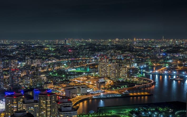 Download Wallpapers Yokohama Bay Metropolis Tokyo Japan Cityscape City Lights