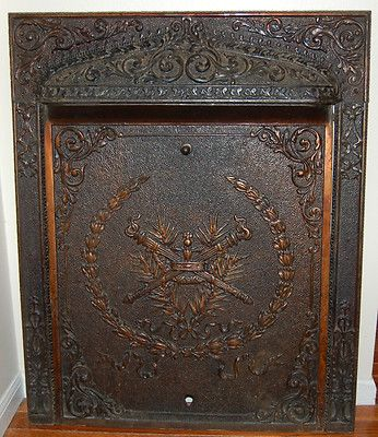 iron fireplace cover. ANTIQUE CAST IRON ORNATE INTERIOR GAS FIREPLACE INSERT SUMMER COVER SCREEN