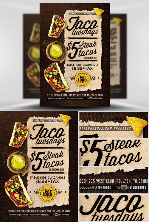 Flyer Template - Taco Tuesdays V2 tacos Pinterest Taco tuesday
