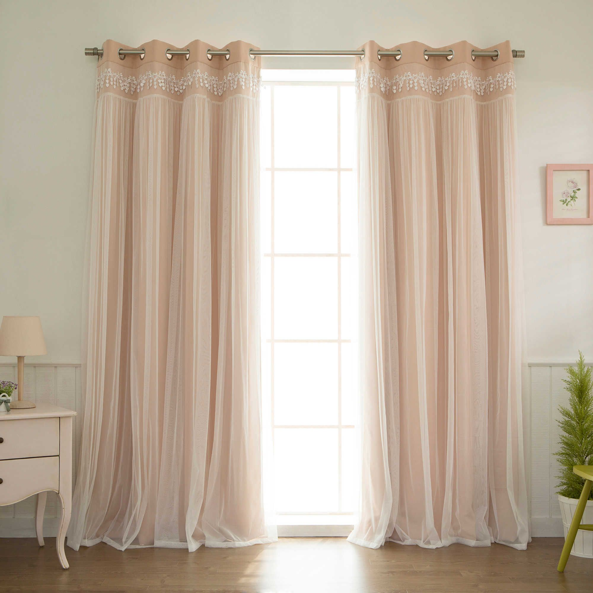 Nursery window ideas  decorinnovation sheer overlay grommet top blackout window curtain