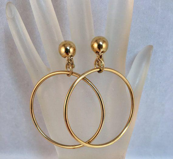 Clip On Earrings Clip On hoops 70s gold hoops Vintage Gold Hoops Monet Sliver Gold Hoops