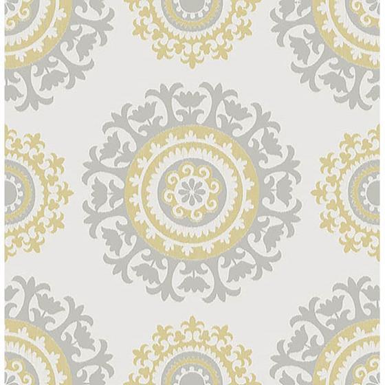 Nu1652 Grey And Yellow Suzani Peel And Stick Wallpaper Nuwallpaper Nuwallpaper Suzani Peel And Stick Wallpaper