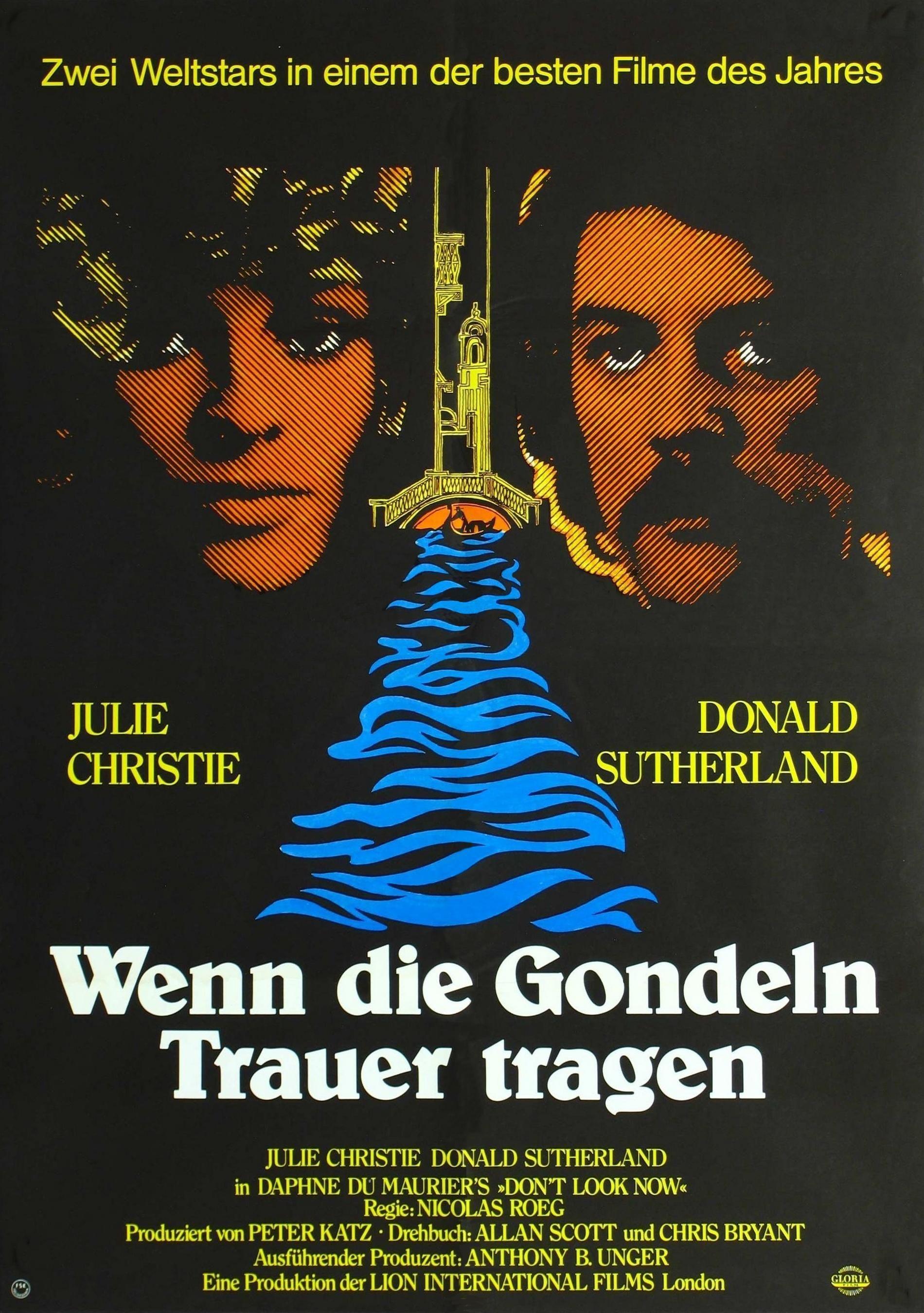 'A Venezia ... un dicembre rosso shocking' (1973); regia: Nicolas Roeg. Titolo tedesco: 'Wenn die Gondeln Trauer tragen'