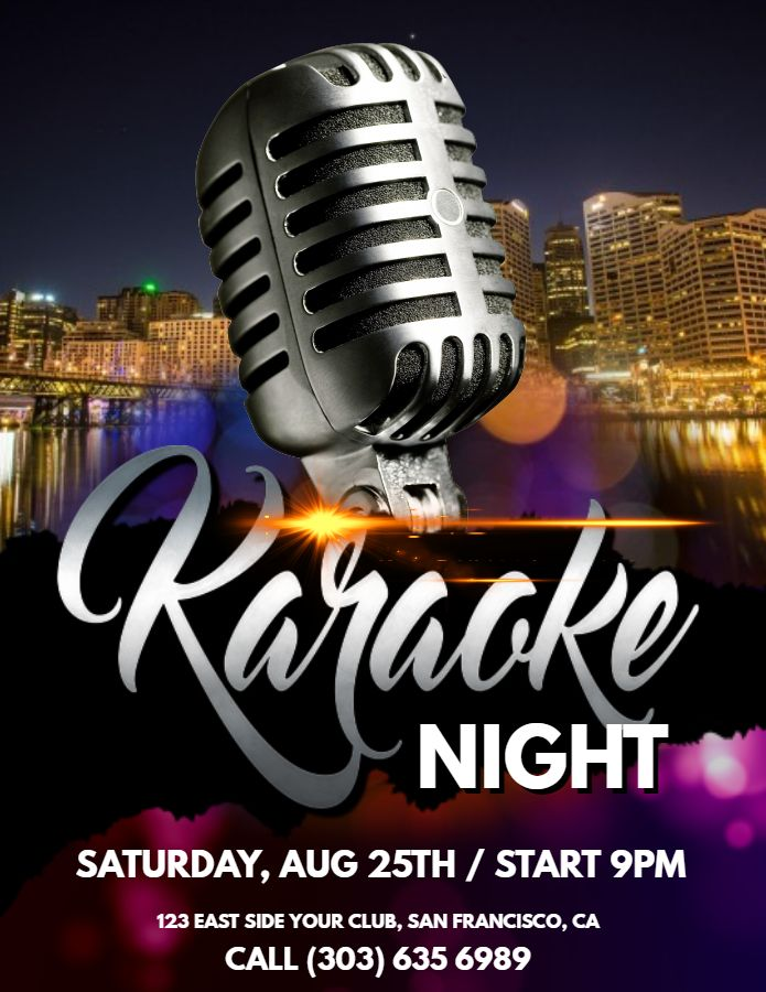 karaoke night party flyer design click to customize karaoke