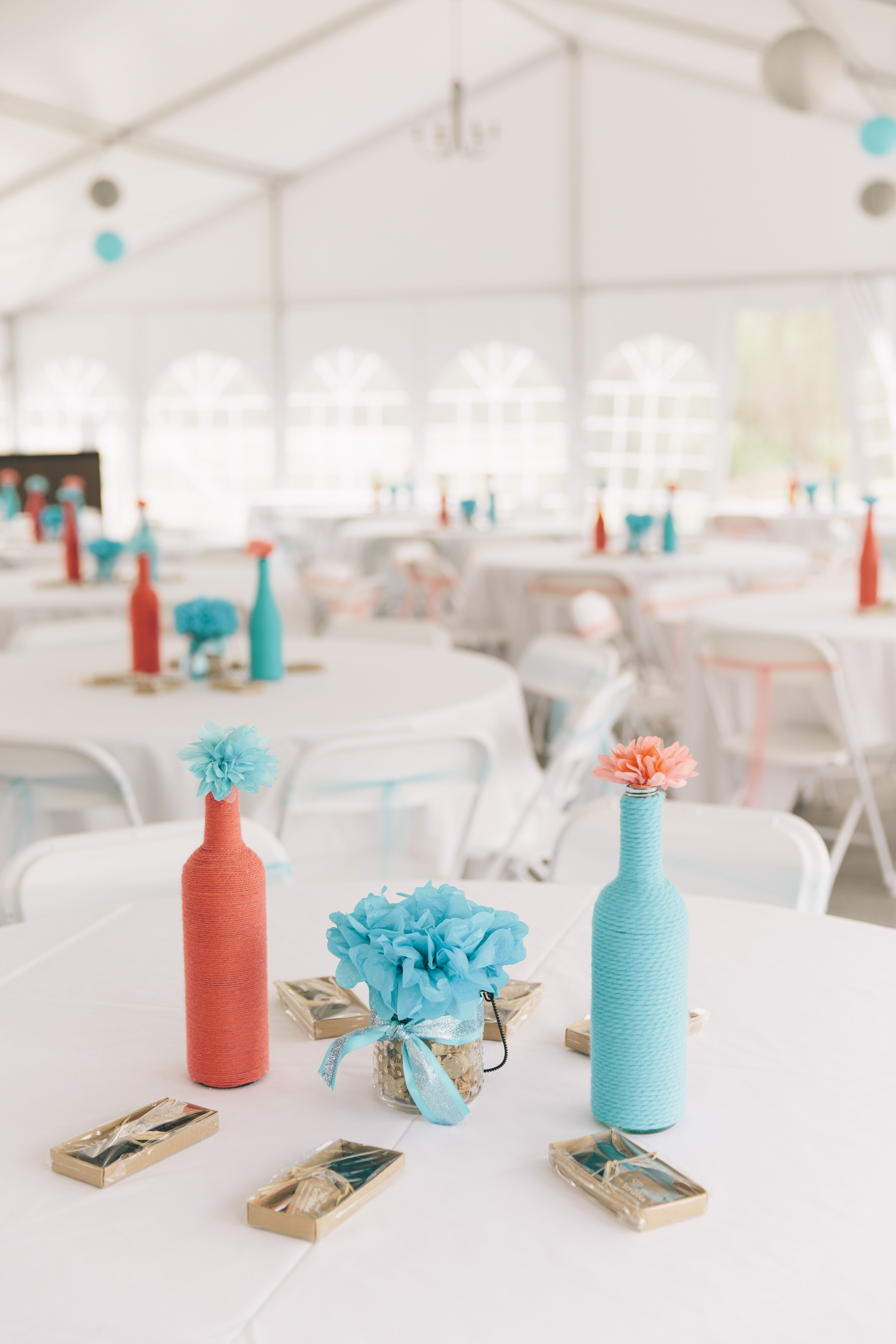 Simple Turquoise and Coral Carnation Centerpieces | When two become ...