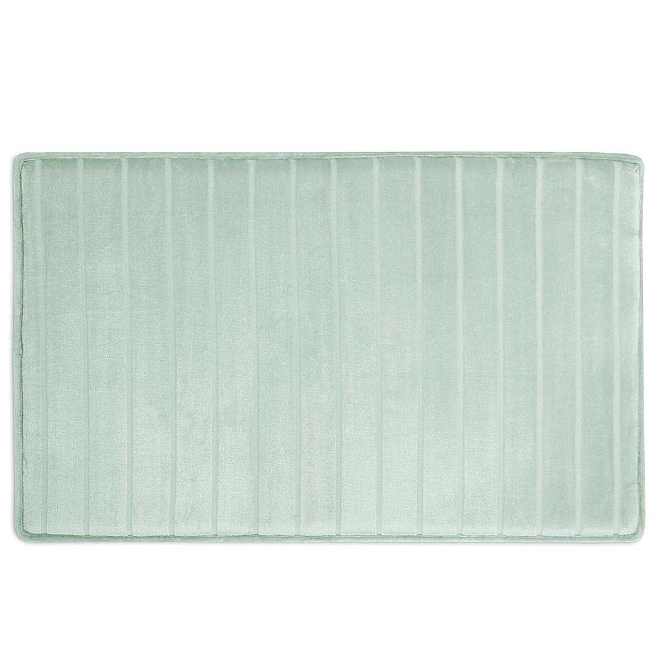 Micro Plush 17 X 24 Memory Foam Bath Mat In Seaglass Sea Glass