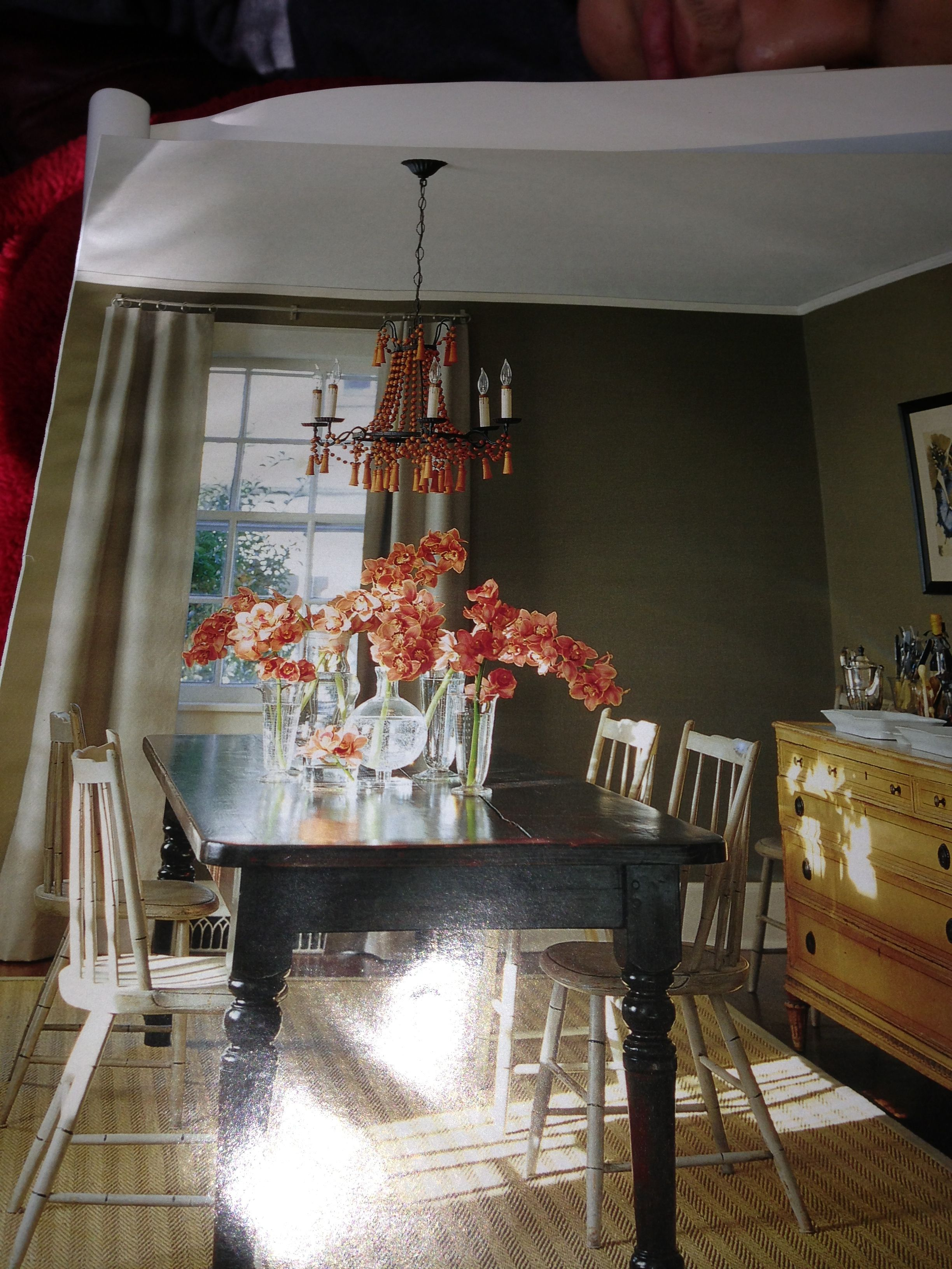 Dining room paint color and floral arrangement