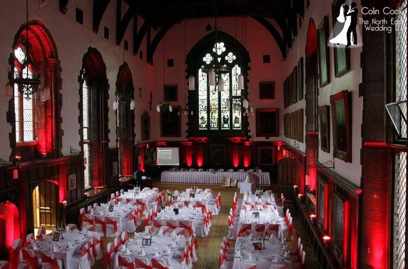 Durham Castle with Moodlighting in Red.  To do this magnificent room properly takes almost 3 hours to install. I have been a recommended supplier to Durham Castle for over 7 years now and regularly supply Uplighting, Master of Ceremonies duties, music for drinks reception and wedding breakfast plus of course DJing for the evening Disco