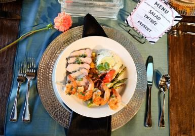 Catering by Edison's. Place setting by Out of the Garden. Photo by Cristina Wisner Photographer. #wedding #food #catering #placesetting