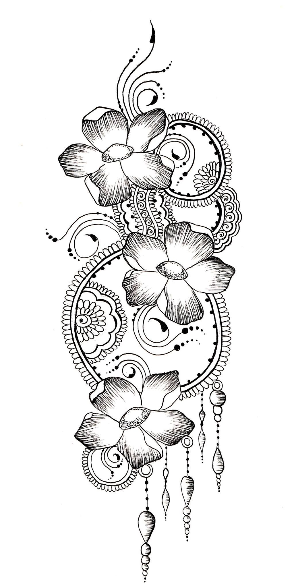 flower henna design drawing wwwjamilahhennacreationscom