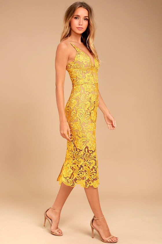 Dress The Population Marie Yellow Lace Midi Dress In 2019
