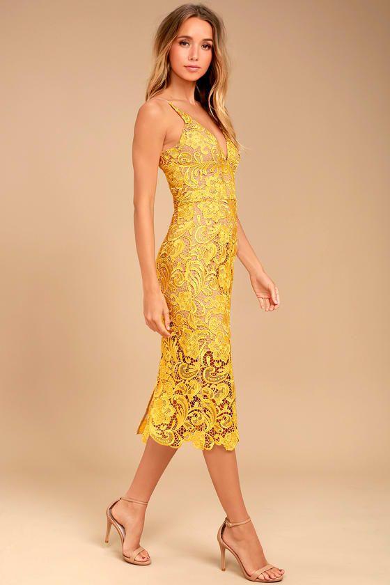 f9be7e9e763 Dress the Population Marie Yellow Lace Midi Dress in 2019