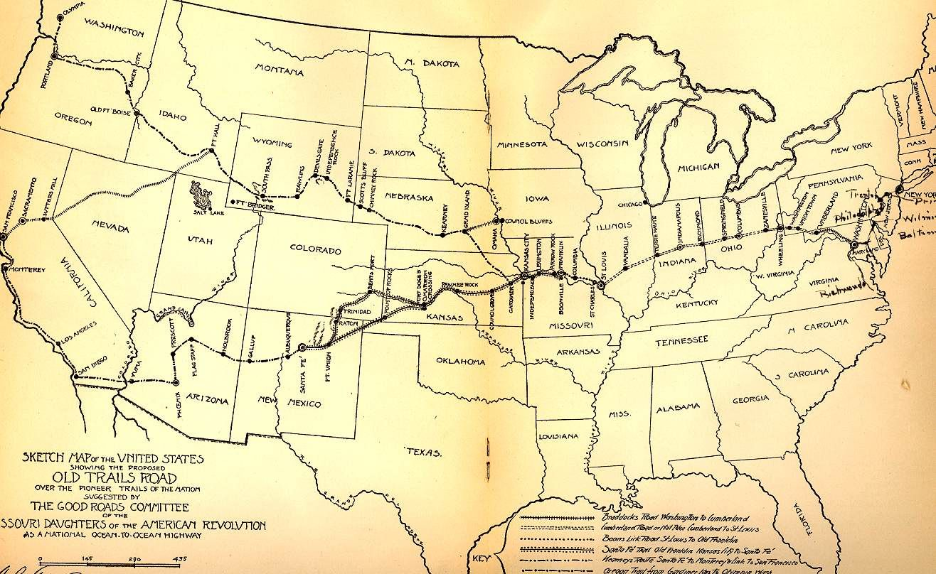 US map showing proposed location of National Old Trails Road Maps