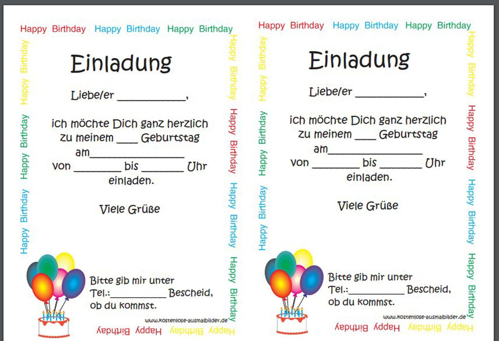 Einladung Geburtstag Kostenlos Einladungen Geburtstag Den