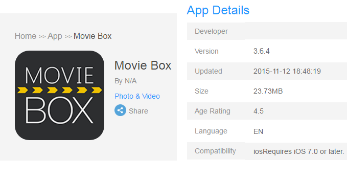Movie Box app download for iPhone, iPad iOS 9.3.2 iOS 7