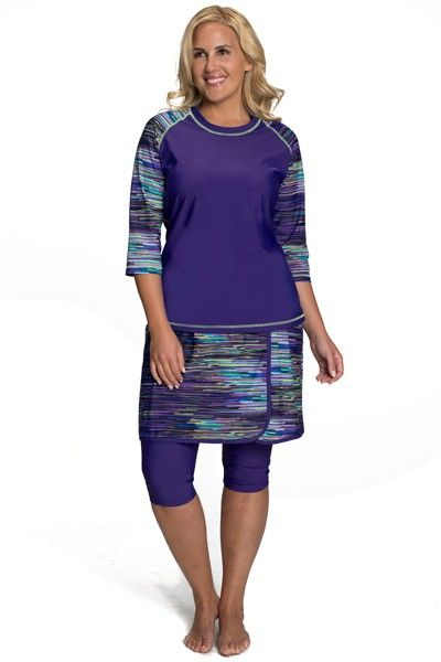 4c2d531c08 Check out our Baseball Babe Inspired Long 3/4 Sleeve Rash Guard Swim Shirt  in our gorgeous new Purple Rain Print - Check out what's new at HydroChic!