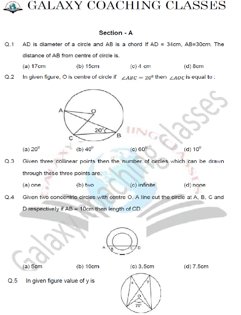 class 9 maths worksheet chapter 10 Circles Math