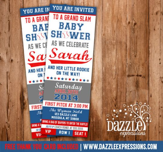 printable baseball ticket baby shower invitation  baby boy, Baby shower