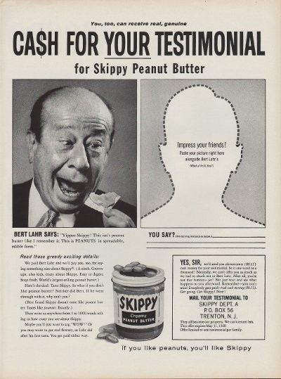"""1960 Skippy Peanut Butter Ad """"Bert Lahr"""" ~ The full dimensions of the advertisement are approximately 11"""" x 14"""". This original vintage advertisement is in Very Good Condition unless otherwise noted."""