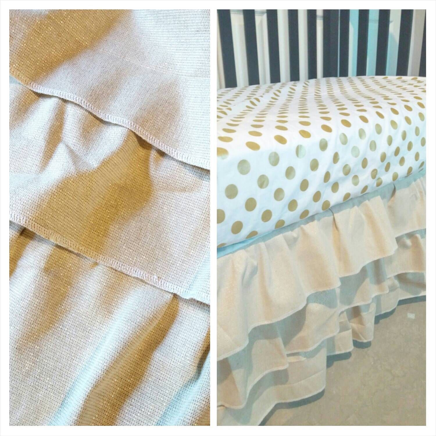 Gold crib for sale - 15 Off Sale Metallic Gold Dot Fitted Crib Sheet And 3 Tier Ruffle
