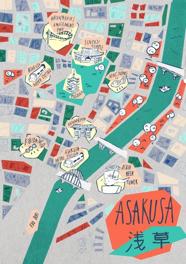 Asakusa Map Tokyo by Soraya Santamaria presentation Pinterest