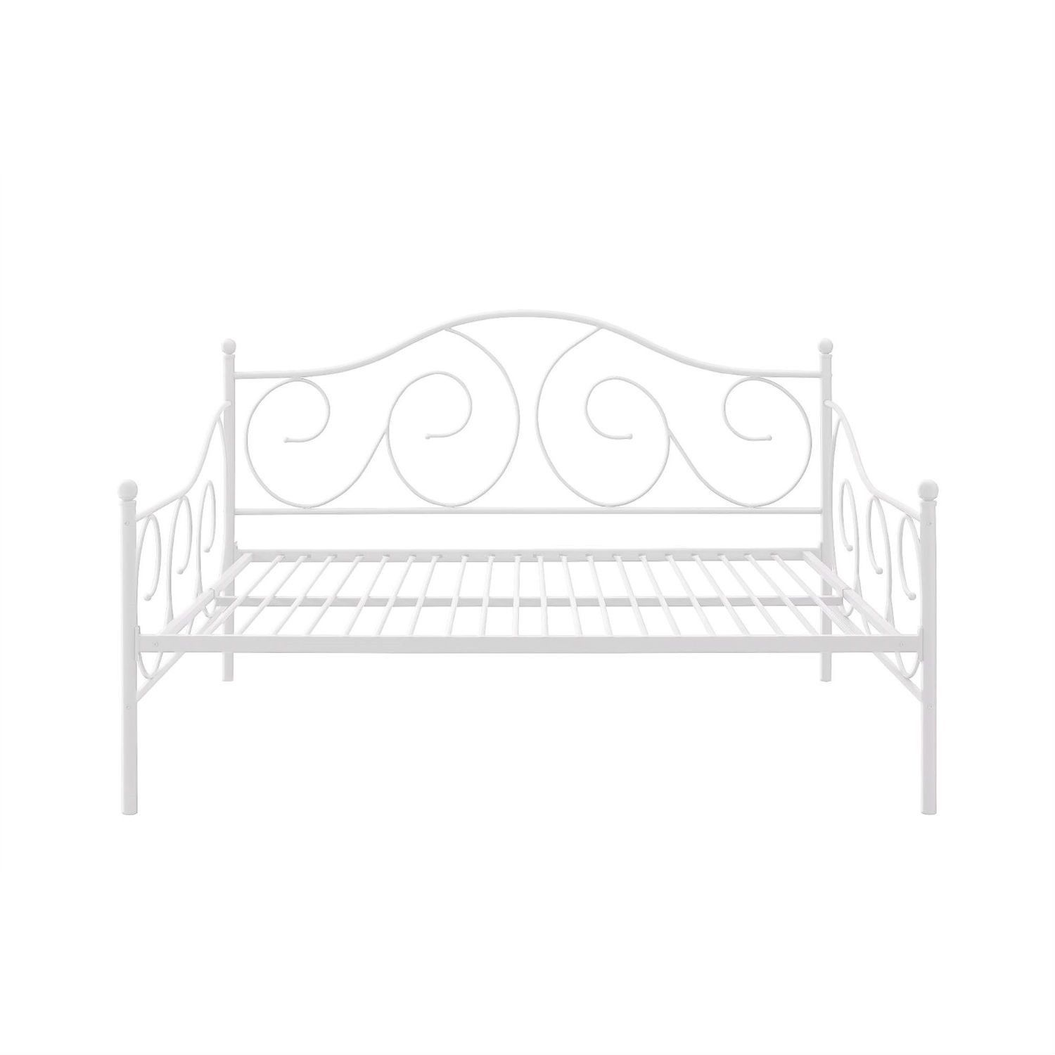 Full size Day Bed in Contemporary White Metal Finish