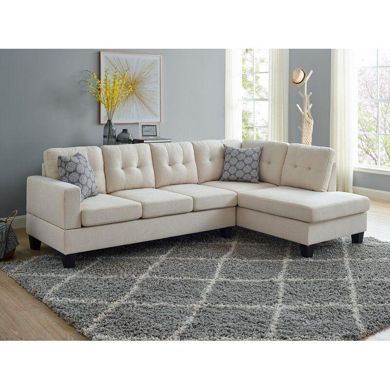 """Tardun 98"""" Velvet Right Hand Facing Sofa & Chaise in 2020"""