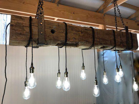 Barn Beam Light Farmhouse Reclaimed Wood Light Fixture