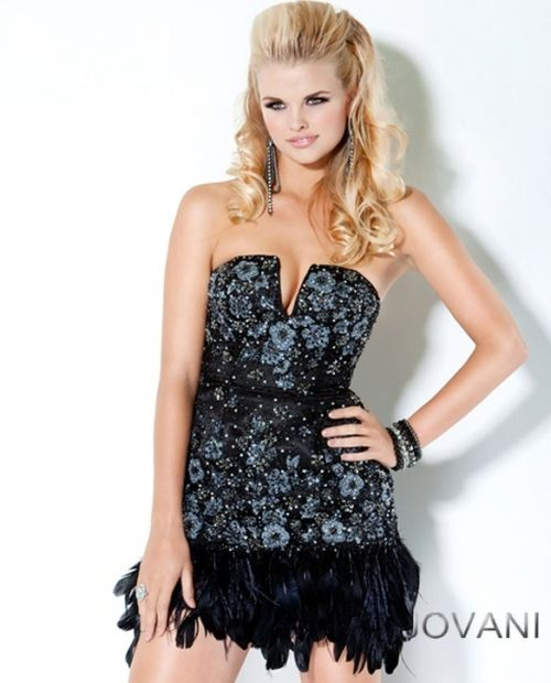 floral beaded feather short dress at jovani