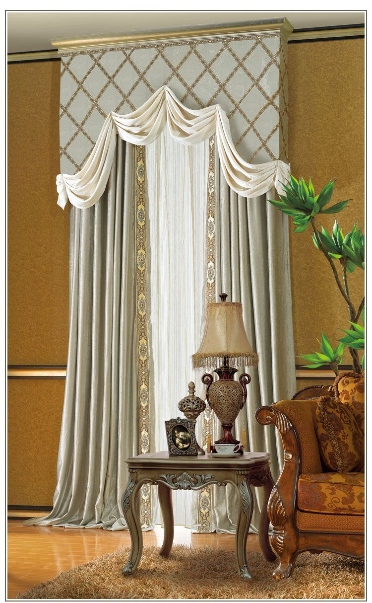 Solid Cornice Board Trimmed With Fabric Detail U0026 Matching Panels LAMBREQUIN