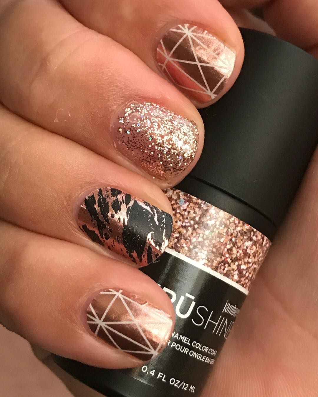 """Morganite"""" and """"Obsidian rose gold"""" on my ring finger and for a bit ..."""