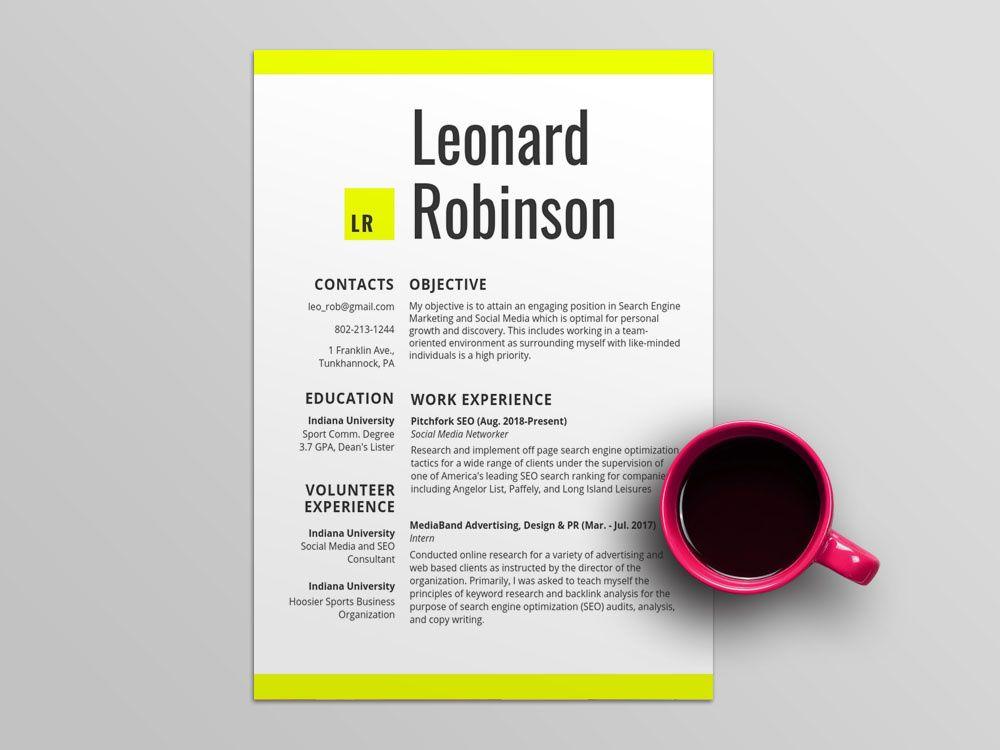 Free volunteer resume template with modern design resume