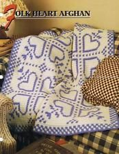 Folk Heart  Annie's Attic  Crochet Afghan Pattern Instructions