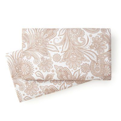 Siri Perfect Paisley Pillowcase Color: Taupe, Size: King