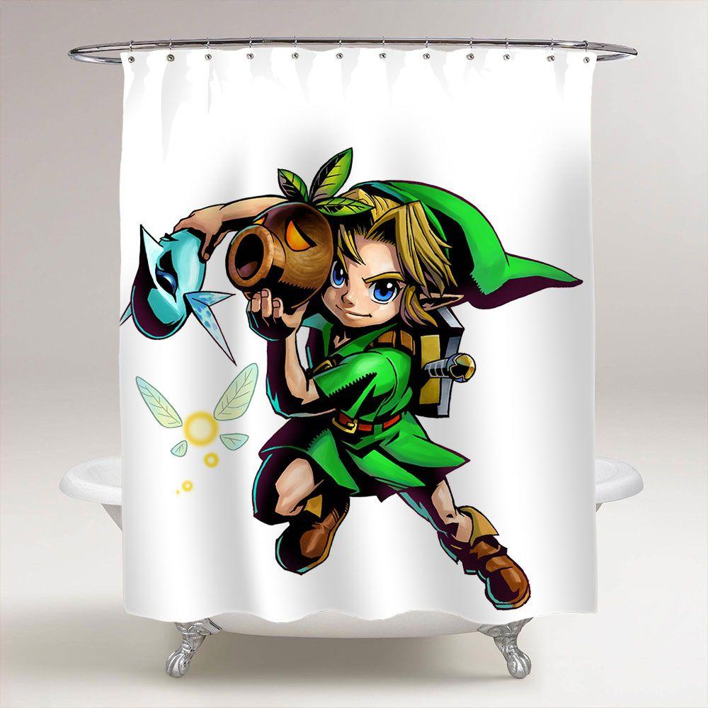 The Legend Of Zelda Majora S Mask Link Bathroom Shower Curtain