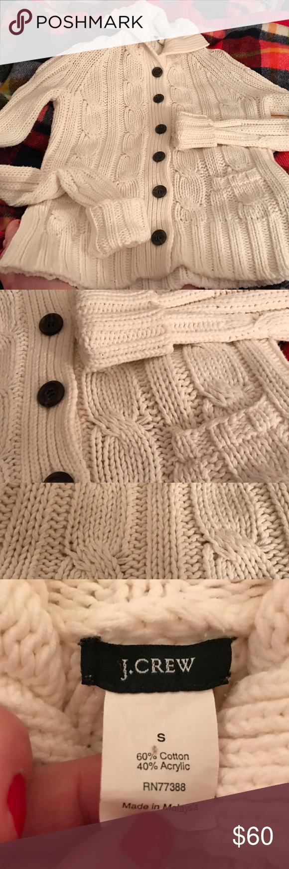J. CREW Long Cardigan Large Cableknit Sweater S White J. CREW ...