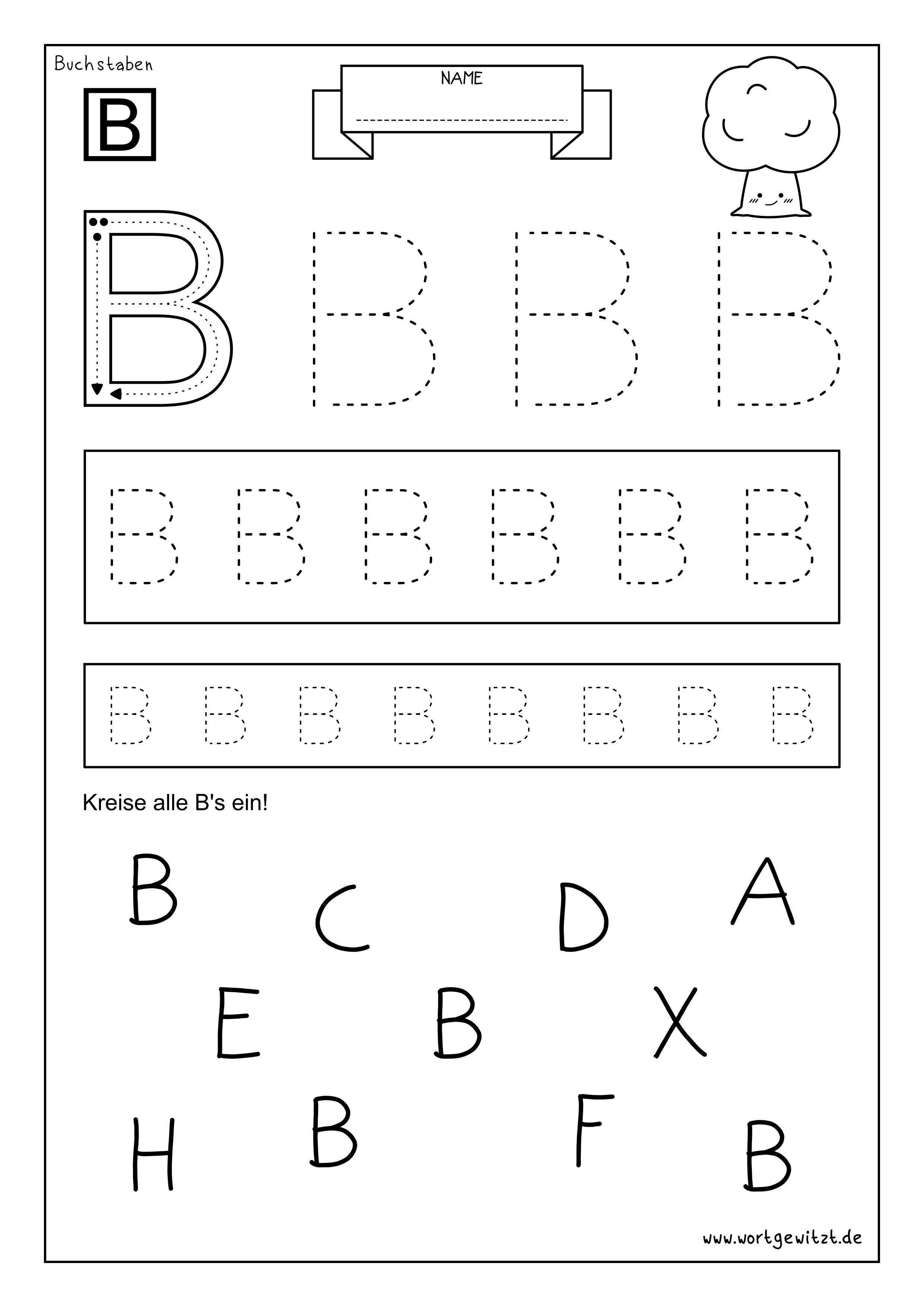 Arbeitsblatt Alphabet Lernen Buchstabe B Alphabet