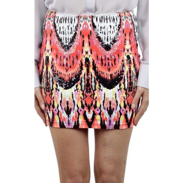 Jorando Tribal Print Embroidery Mini Skirt ($225) ❤ liked on Polyvore featuring skirts, mini skirts, multicolor, tribal mini skirt, embroidered mini skirt, multicolor skirt, multi color skirt and multi colored skirt
