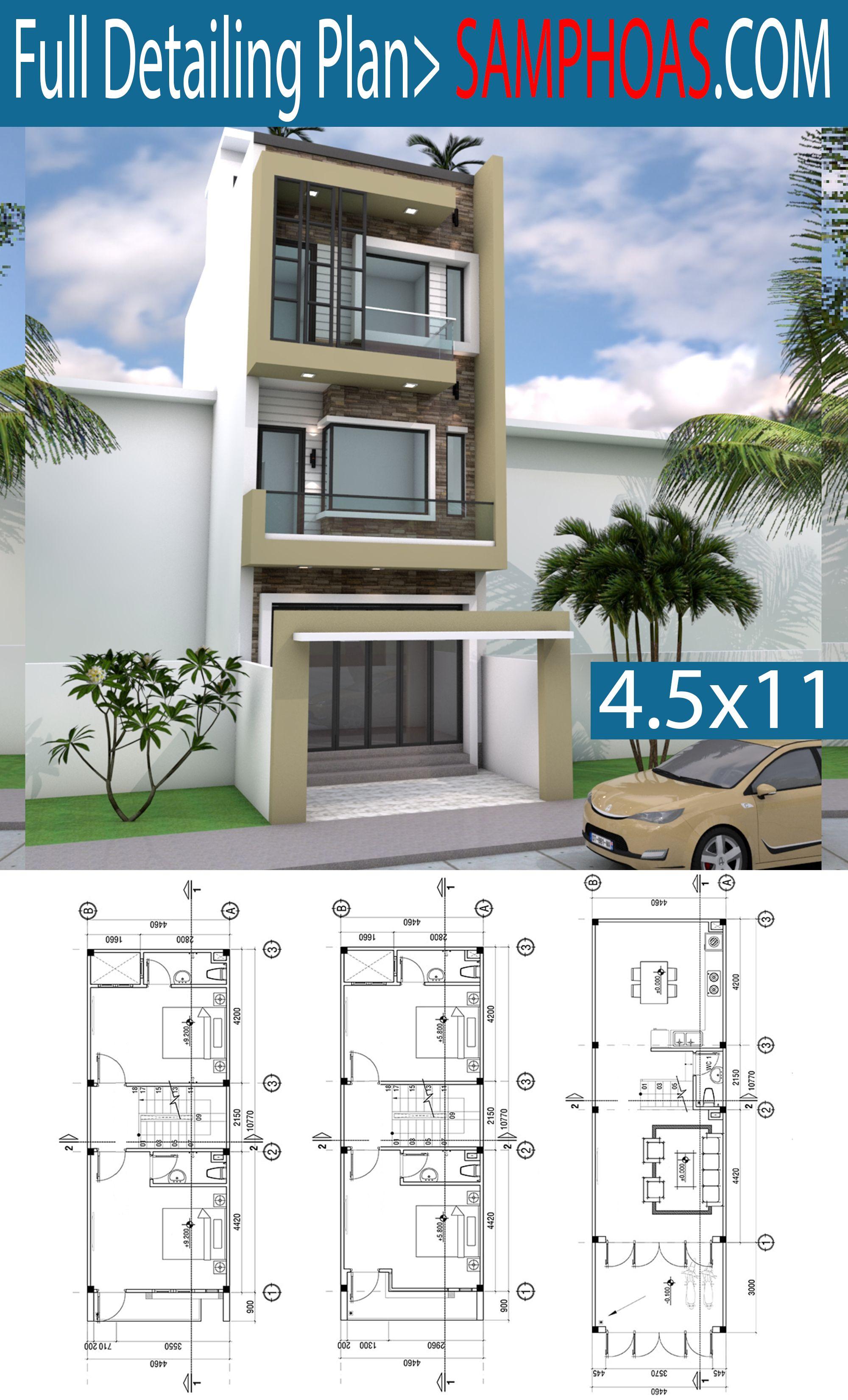 4 5x11m Narrow Home Lot Design Arsitektur Arsitektur Rumah Denah Rumah