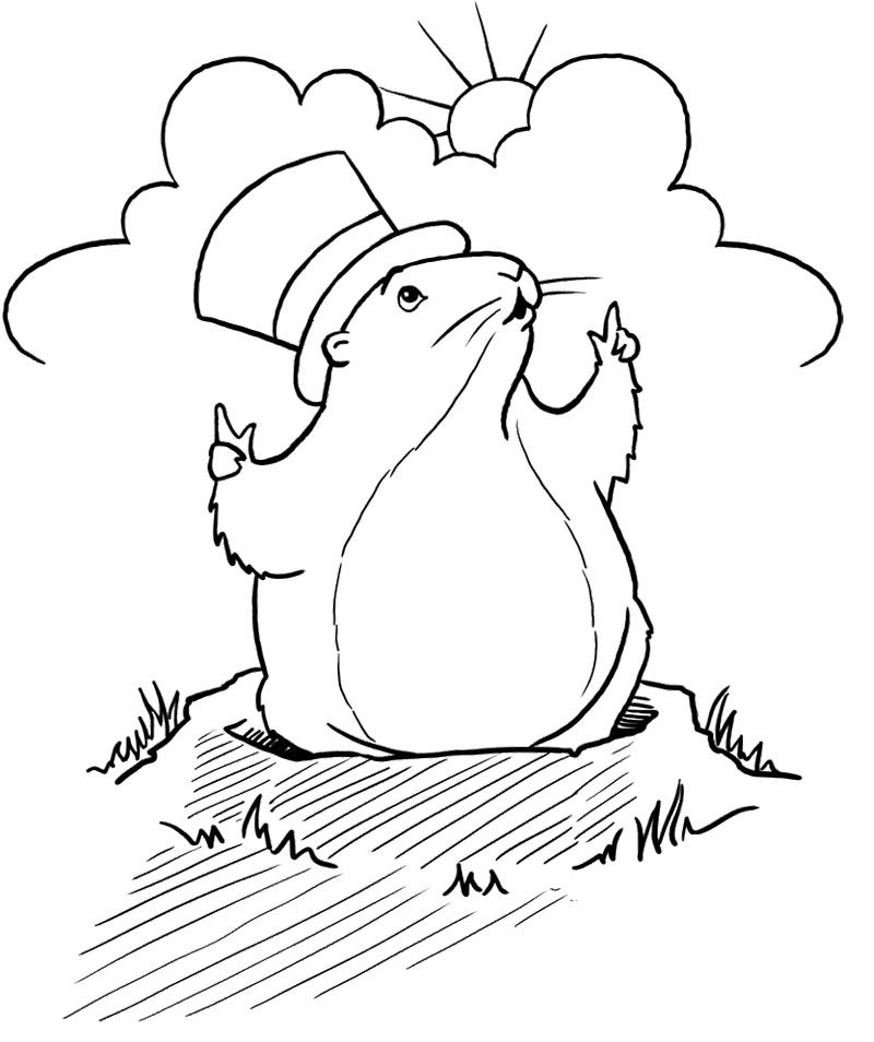 Groundhog Day : Laughing Happy Groundhog Day Coloring Page, Happy ...