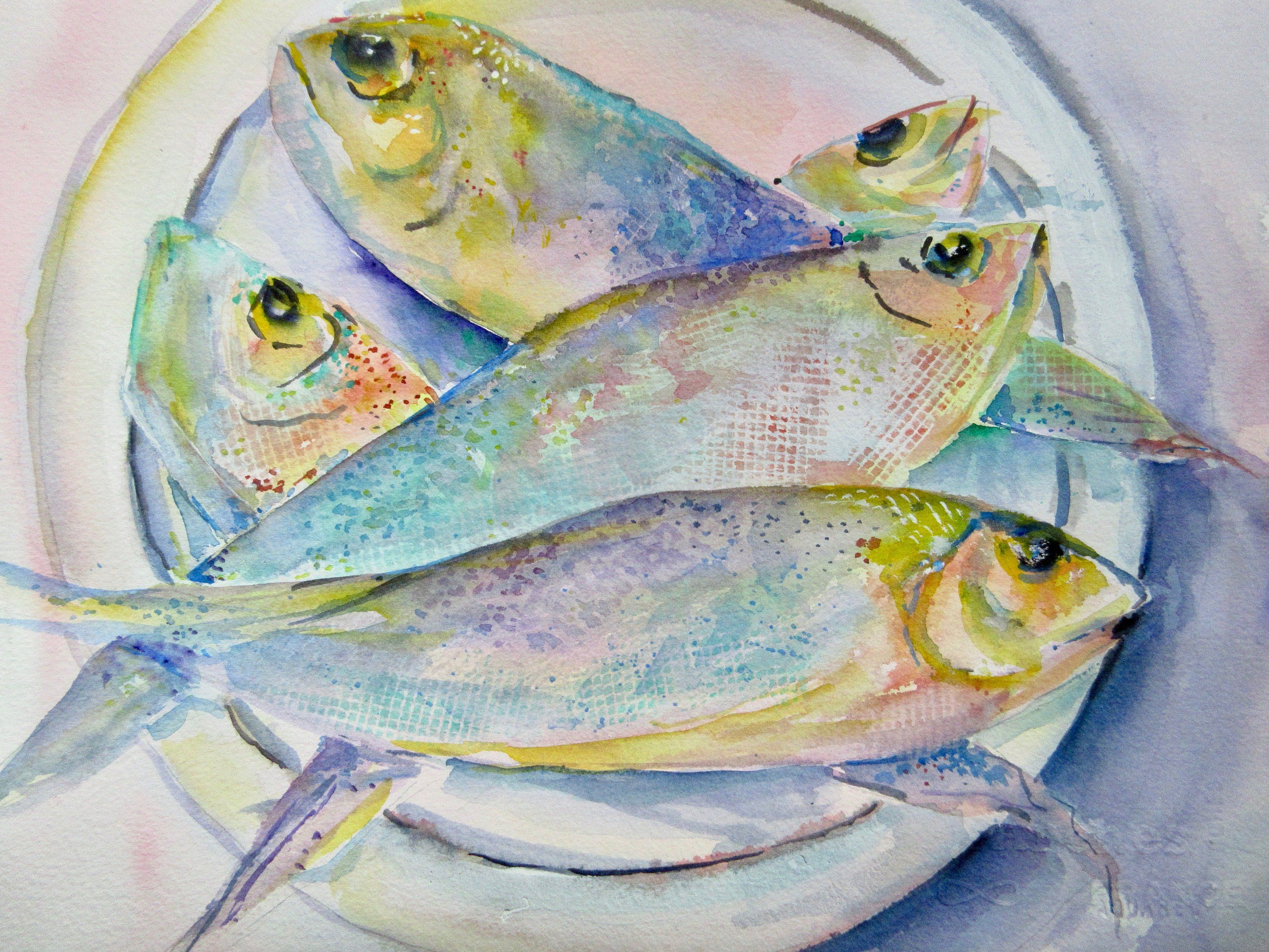 Watercolor Fish Painting Fish On A Plate Fish Dinner Fresh Catch