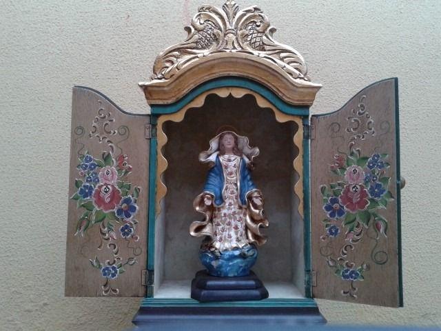oratório barroco de madeira 60cm, para imagem de até 35cm
