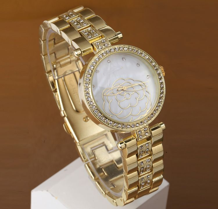 $12.00 (Buy here: http://appdeal.ru/792r ) New Arrival Women Rhinestone dress Watches Geneva Steel gold Watches Fashion Gifts Quartz watch for just $12.00
