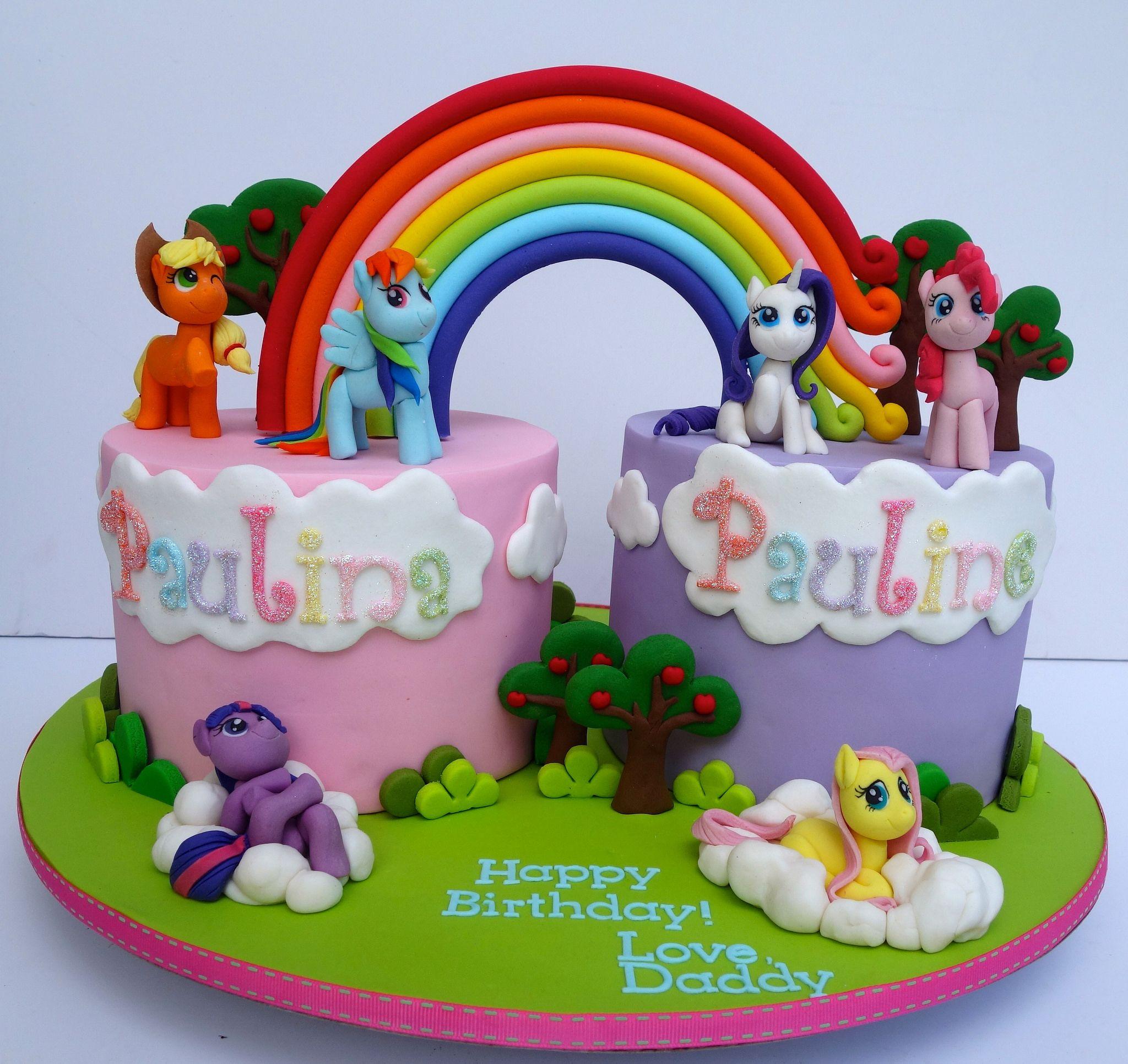 Fantastic S Flic Kr P Rz5Wnk My Little Pony Cake For Twins Twin Funny Birthday Cards Online Ioscodamsfinfo