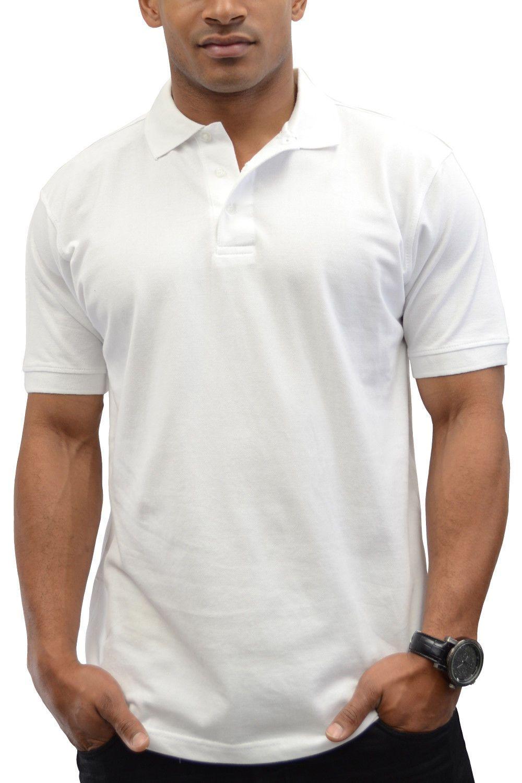 New BJLA No Logo Men/'s Solid White Short Sleeve Pique Polo Shirt 2XL 3XL 4XL 5XL