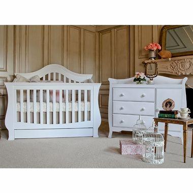 Million Dollar Baby 2 Piece Nursery Set Ashbury 4 In 1 Sleigh Convertible Crib And Combo Dresser In White Baby Furniture Sets Nursery Furniture Sets Convertible Crib