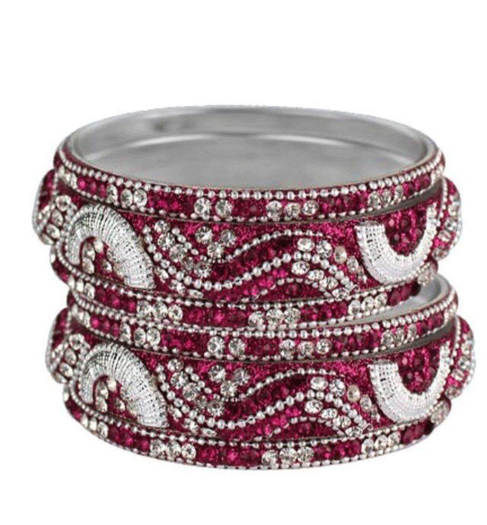 9039750df8c Sparkly Crystal Rhinestone Bling Bangle Bracelet Set of 6 Magenta-Silver.  High quality full