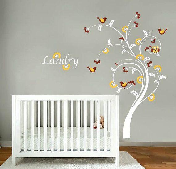 kids swirl tree vinyl wall decal with birds by wallinspired 85 00 rh pinterest com