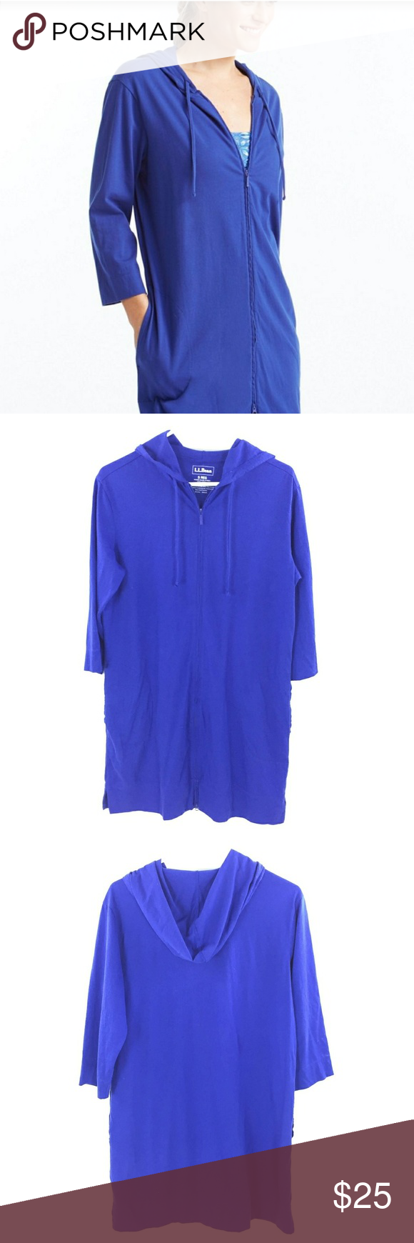 2df8fde824666 L. L. Bean full zip hooded swim cover up S L. L. Bean full zip hooded swim  suit cover up. Royal blue (zipper goes all the way to bottom) Gently worn  no ...