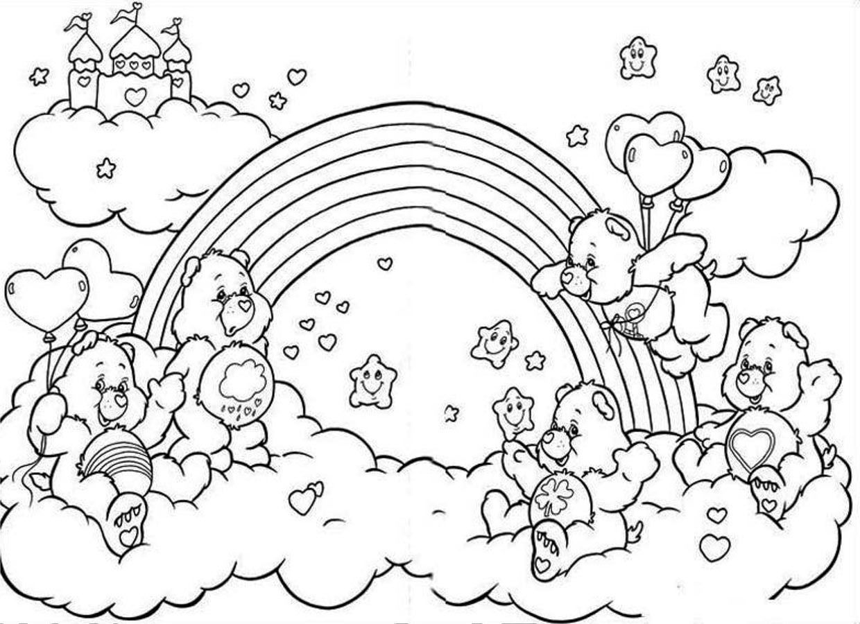 Care Bear Rainbow Coloring Page Bear Coloring Pages Cartoon